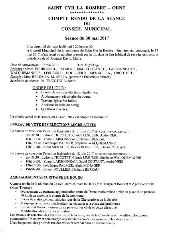 Compte rendu du conseil du 30 mai 2017