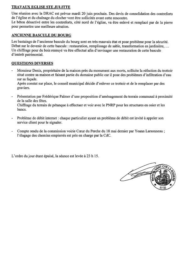 Compte rendu du conseil municipal du 30 mai-2