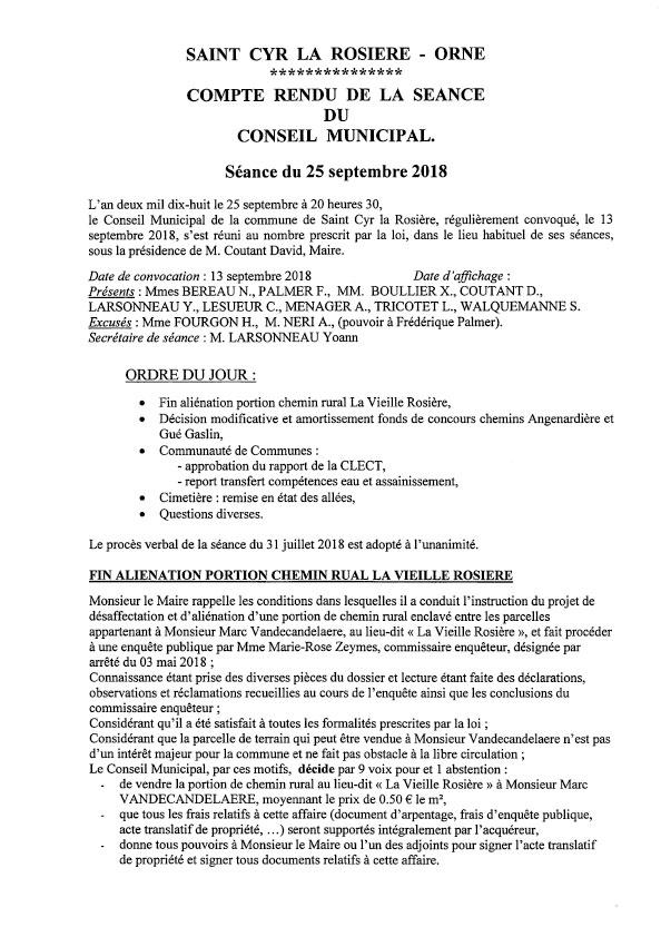 Compte rendu du conseil municipal du 25 septembre